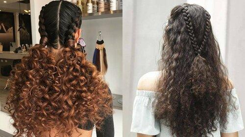 Кудри из косичек на разной длины волосах