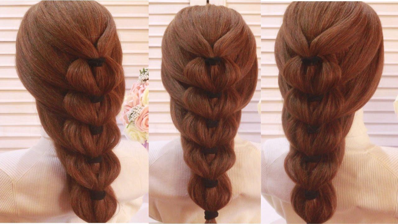 Французская коса с резинками