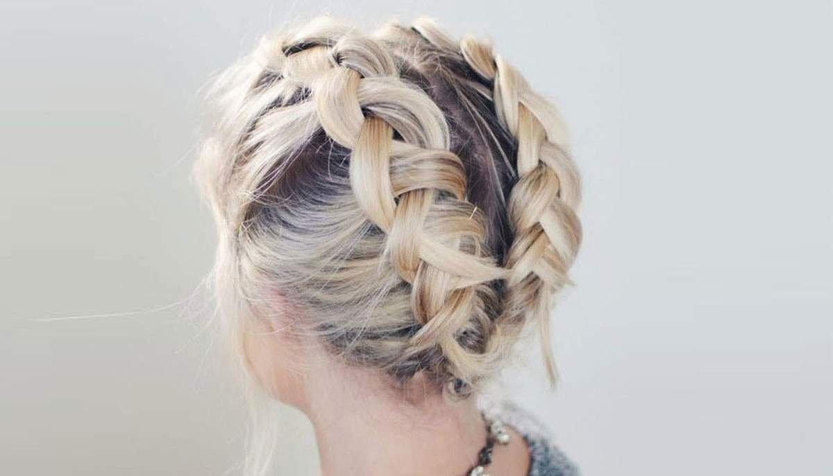Косички с челкой на средние волосы