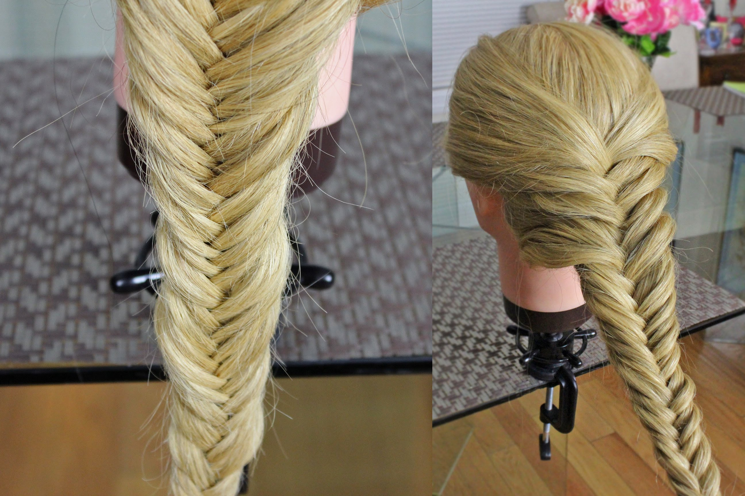Две объемные косы на средние волосы
