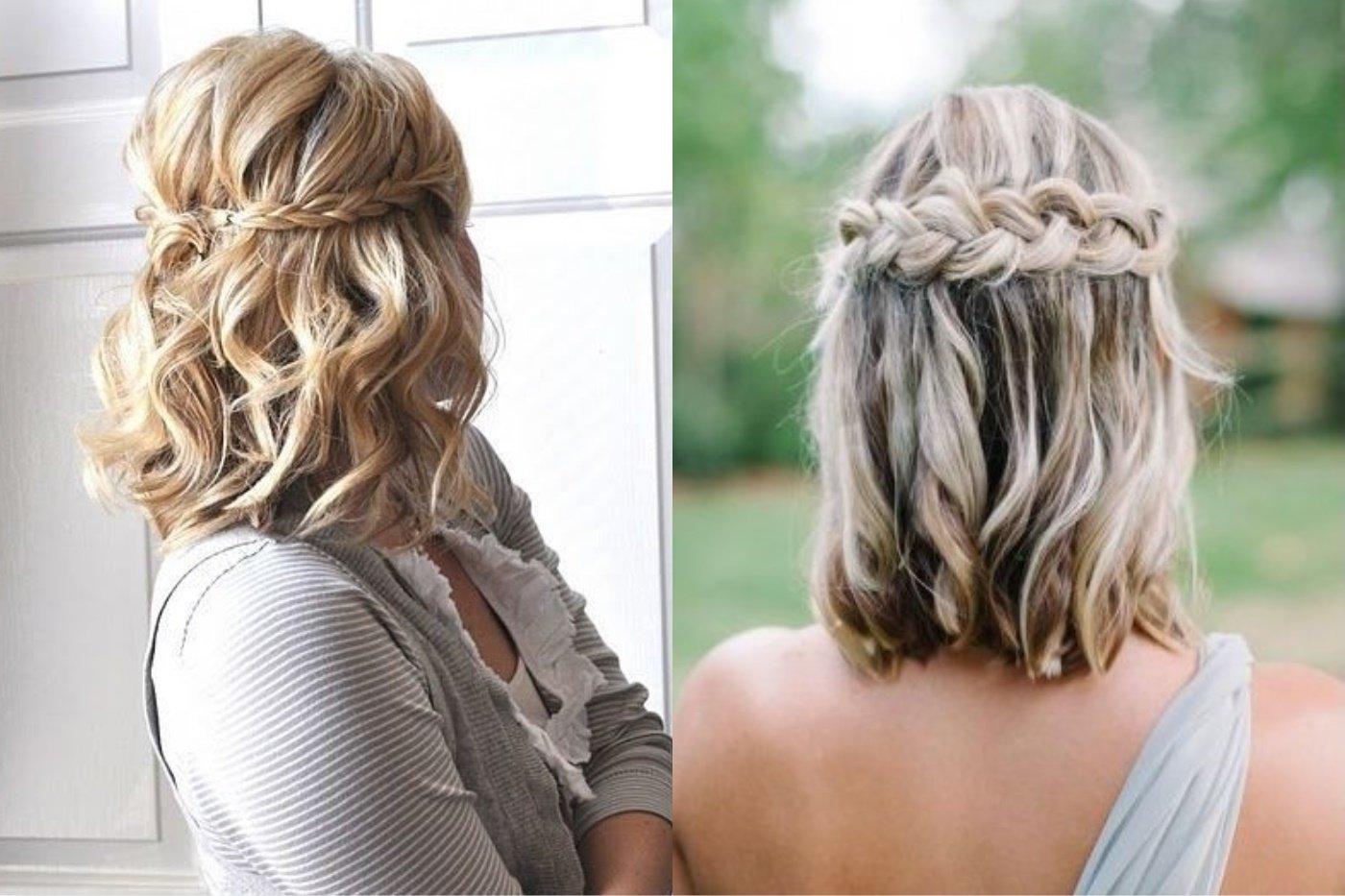 Греческая коса на волосах средней длины,