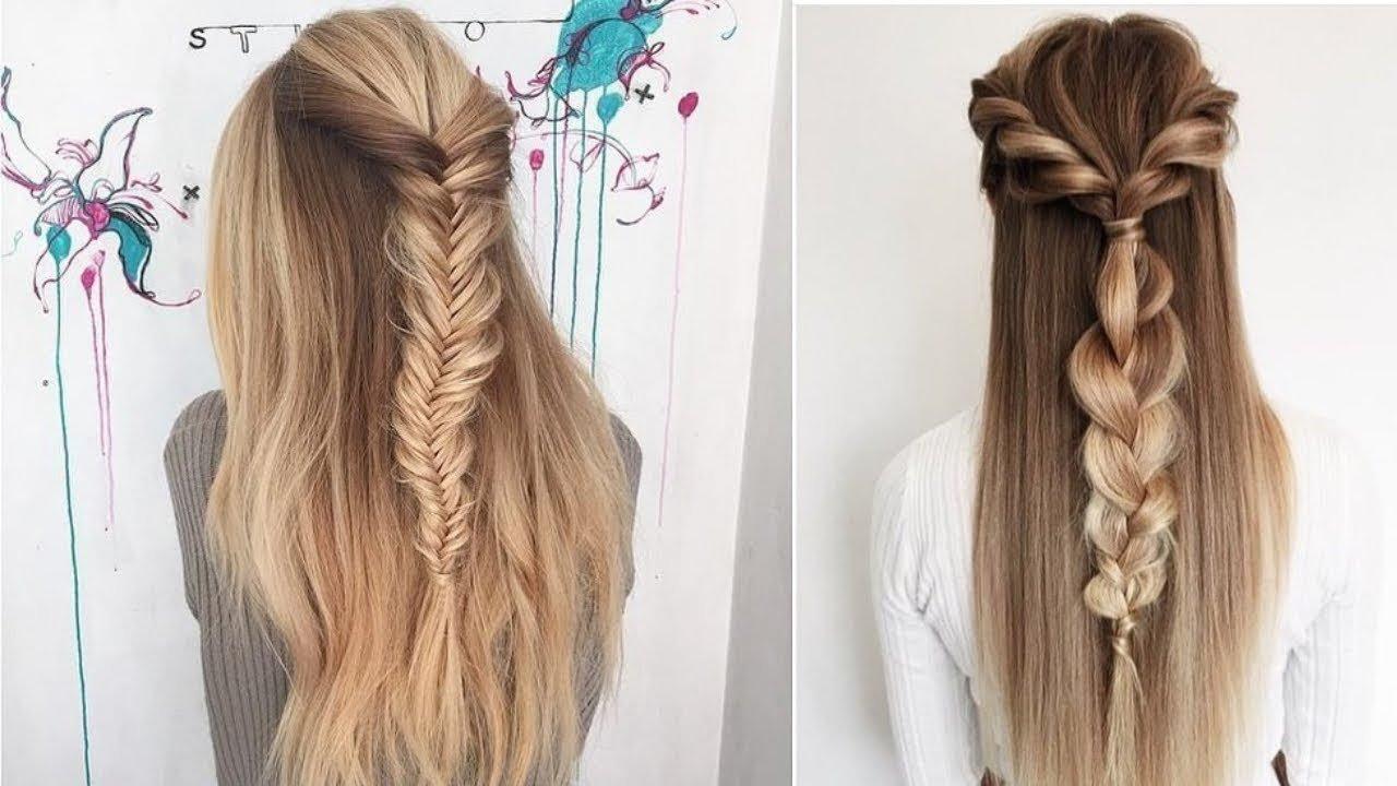Плетение кос с распущенными волосами