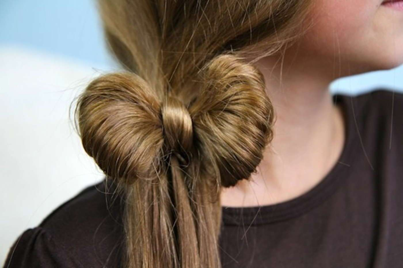 Как сделать на волосах бантик
