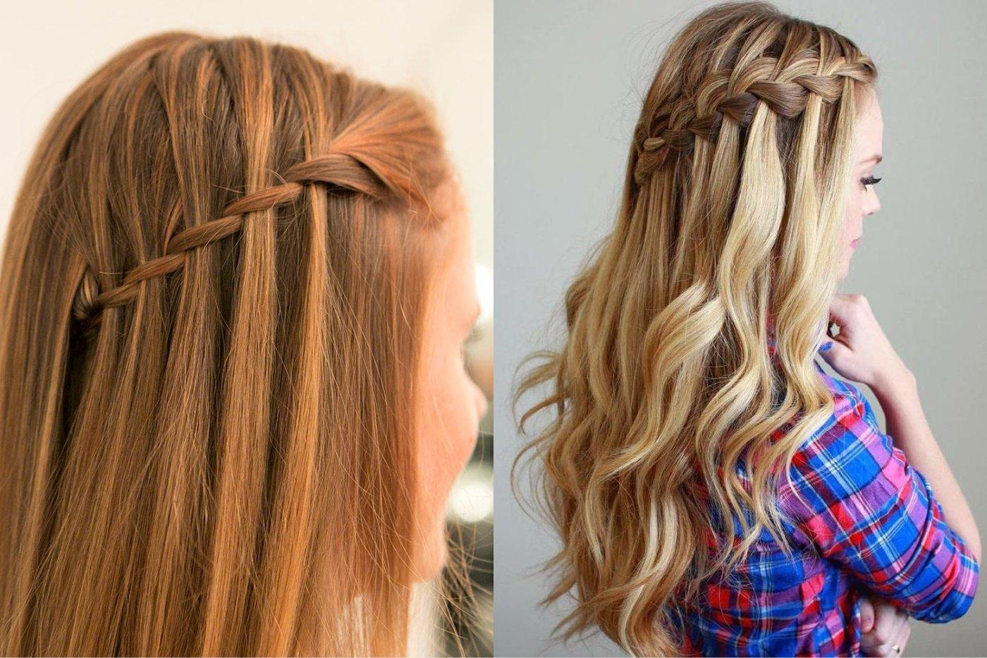 Прическа с двумя косичками и распущенными волосами