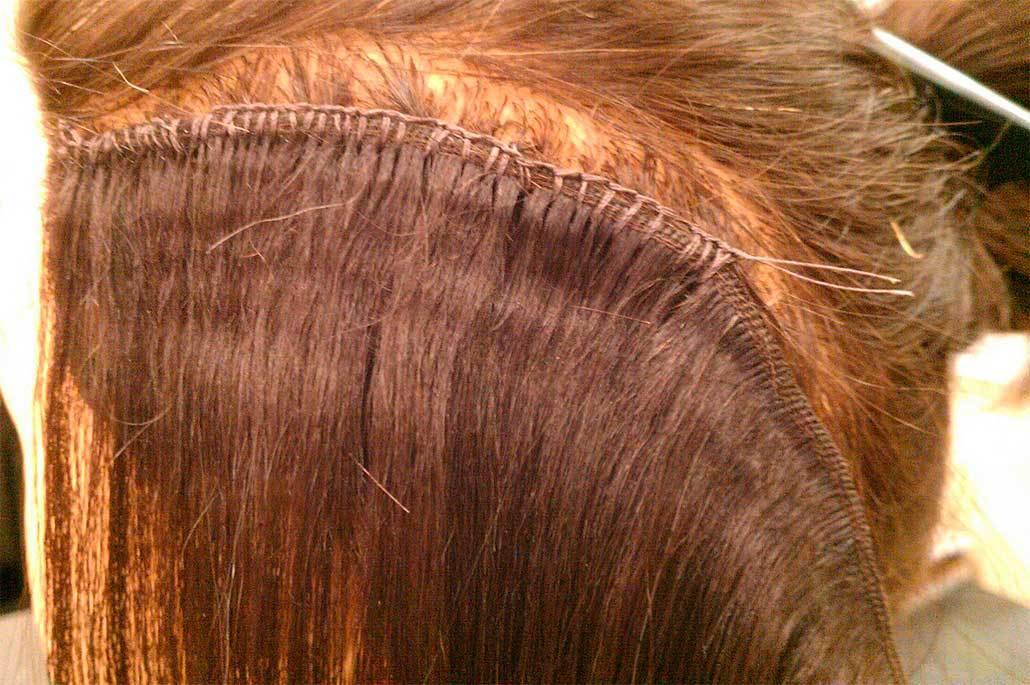 наращивание волос на косичку