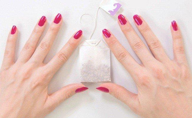 ремонт ногтя чайным пакетиком